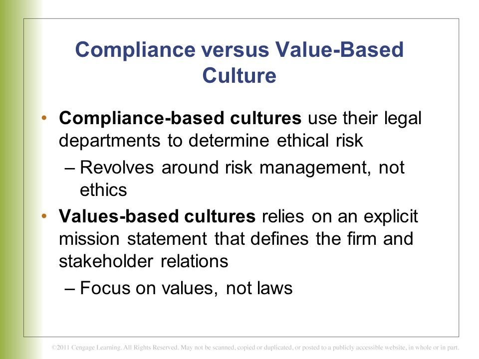 compliance versus ethics Companies are spending a great deal of time and money to install codes of ethics, ethics training, compliance programs (bonds racked up 762 versus aaron's 755.
