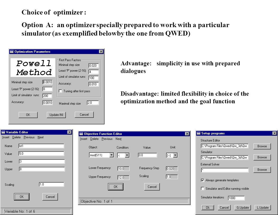Choice of optimizer : Option A: an optimizer specially prepared to work with a particular simulator (as exemplified belowby the one from QWED)