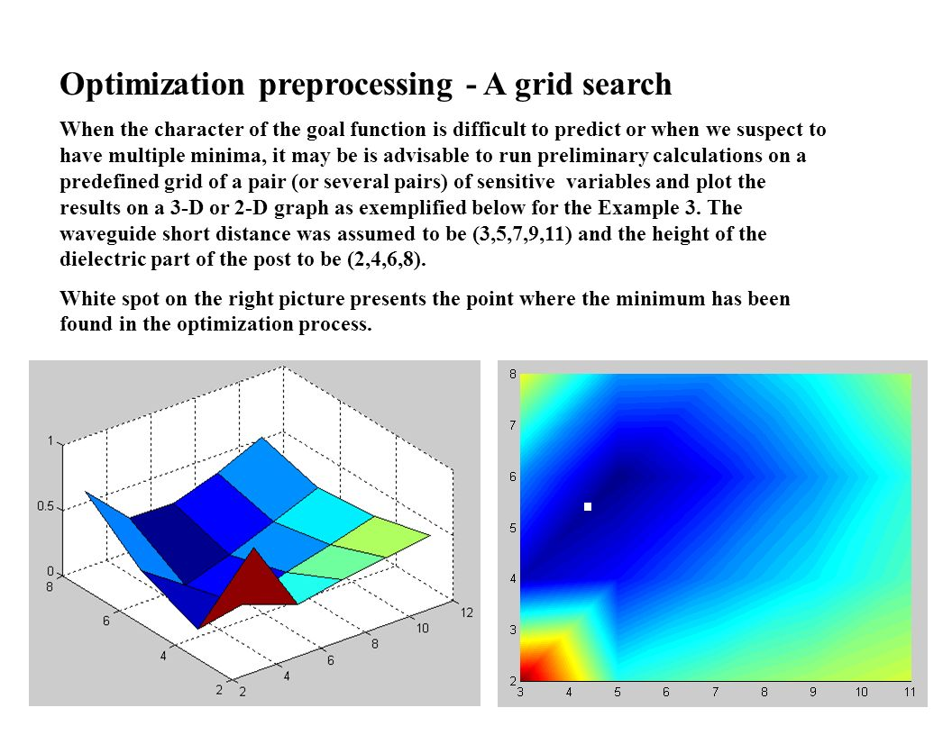 Optimization preprocessing - A grid search