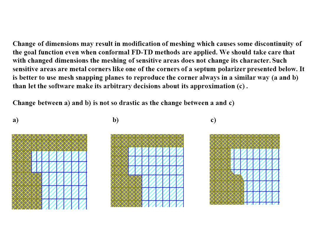Change of dimensions may result in modification of meshing which causes some discontinuity of the goal function even when conformal FD-TD methods are applied.