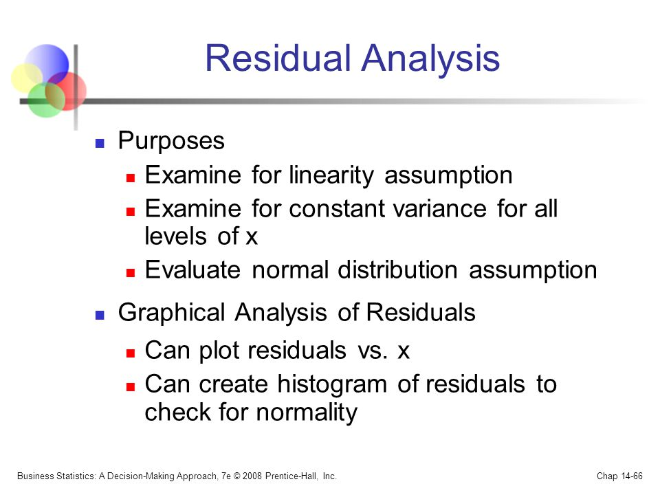 Residual Analysis Purposes Examine for linearity assumption