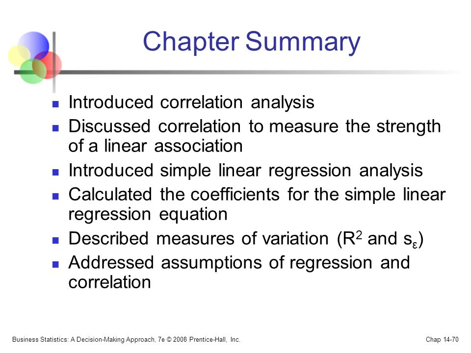 Chapter Summary Introduced correlation analysis