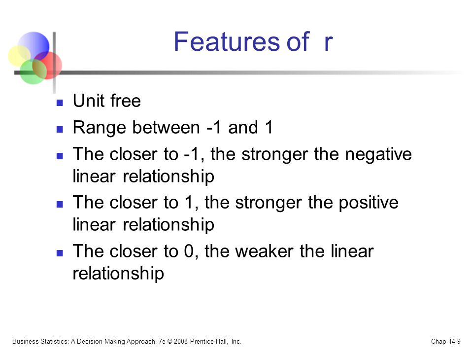 Features of r Unit free Range between -1 and 1
