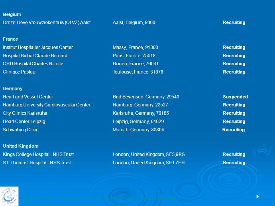 Belgium Ornze Lieve Vrouwziekenhuis (OLVZ) Aalst Aalst, Belgium, 9300 Recruiting. France.