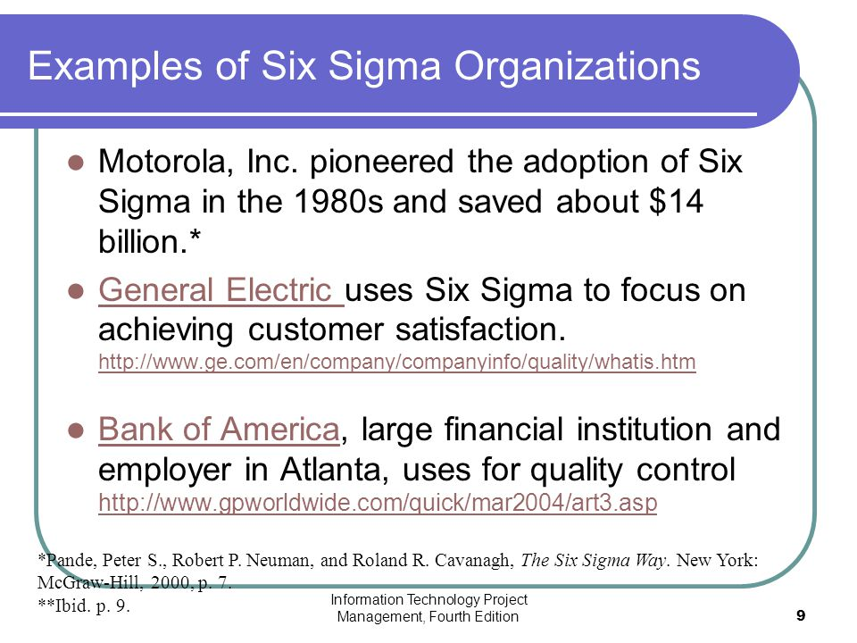 general electric six sigma - general electric's quality gamble the implementation of six sigma general electric (ge) is among the most profitable companies and,.