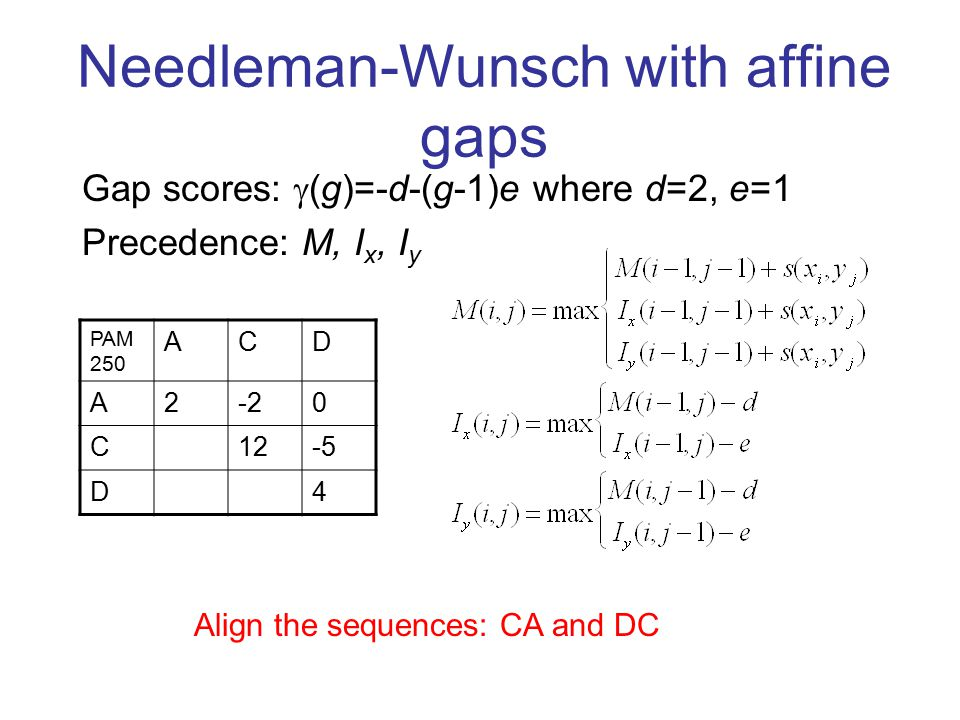 affine gap penalty answer