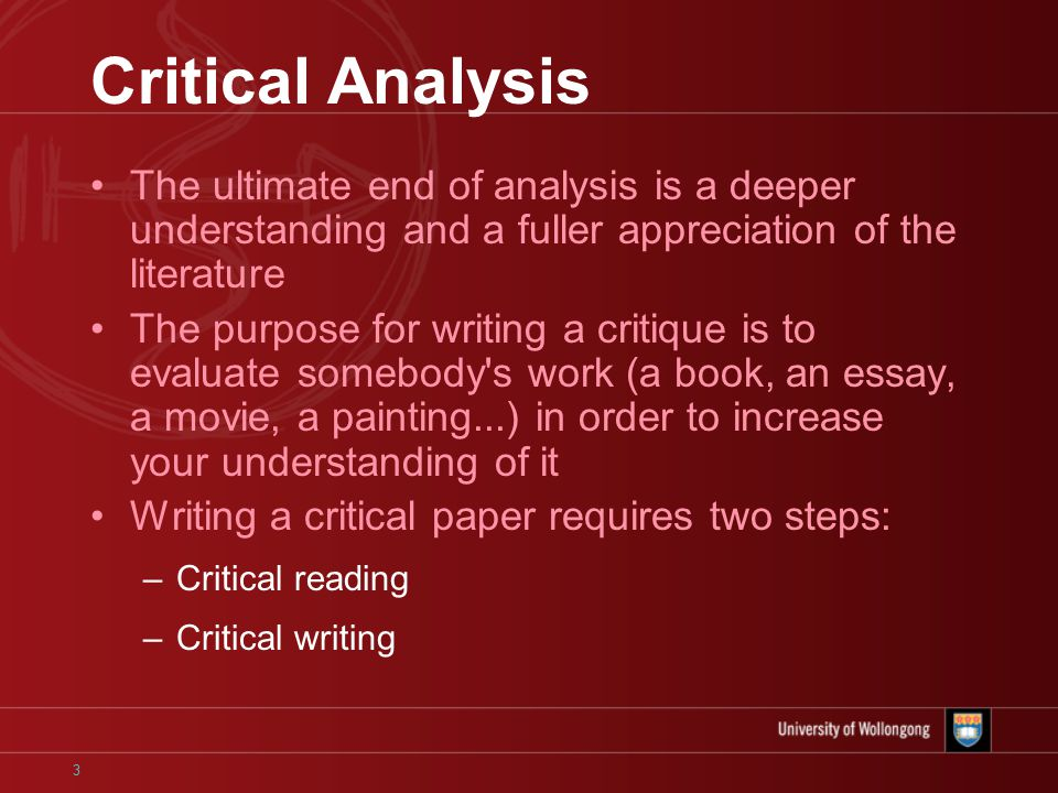an analysis of the work of literature The analysis of a piece of fiction or writing can seem daunting especially if after  the first  below are examples of methods used to analyze a work of literature: 1.