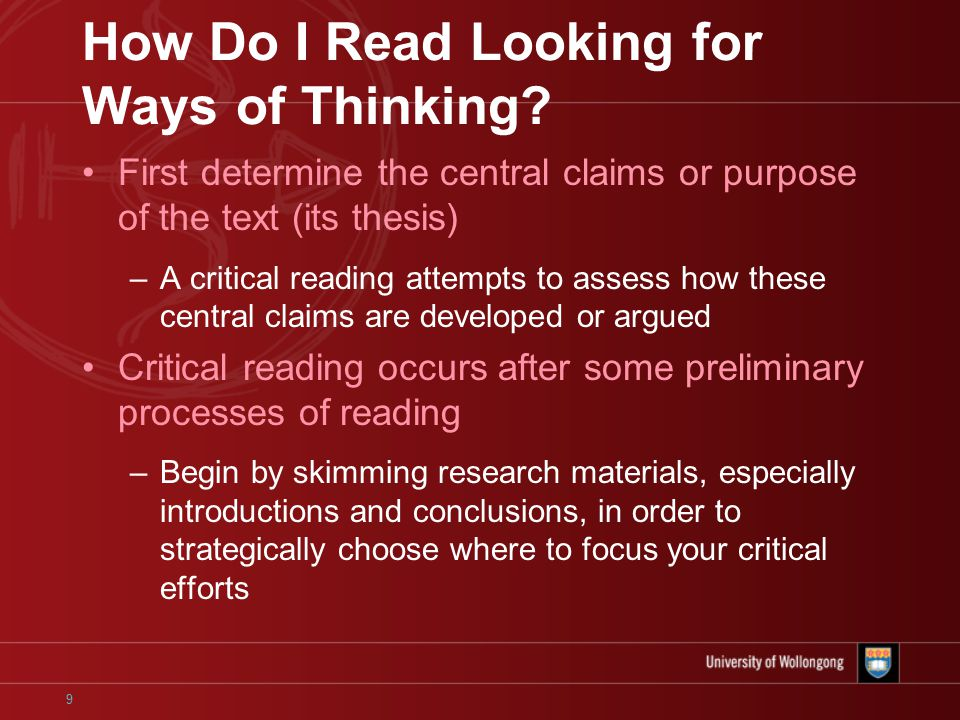 critical reading critical thinking