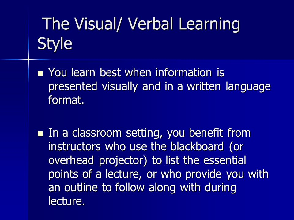 verbal visual essay The three different types of communication are verbal, nonverbal and visual the two major forms of verbal communication are written (or typed) and oral the major type of nonverbal is body language, especially visual cues.