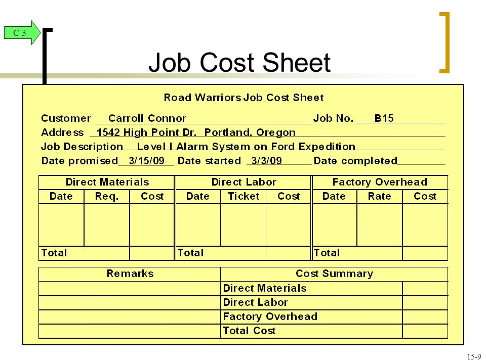 Job Order Costing and Analysis ppt video online download – Job Sheet Example
