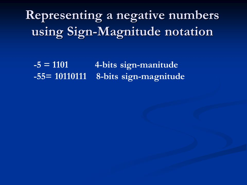 Representing a negative numbers using Sign-Magnitude notation