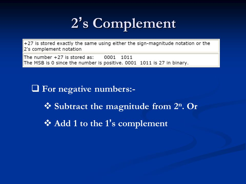 2's Complement For negative numbers:-