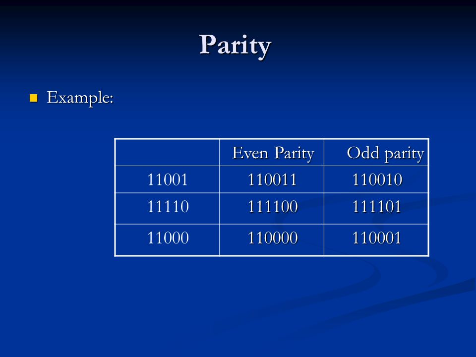 Parity Example: Odd parity Even Parity 110010 110011 11001 111101