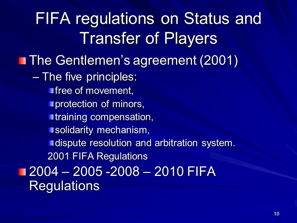 FIFA regulations on Status and Transfer of Players