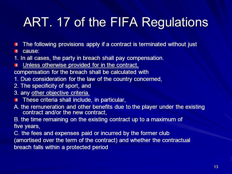 ART. 17 of the FIFA Regulations