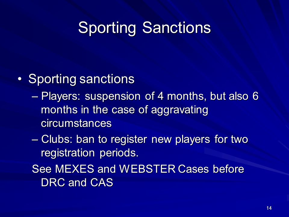 Sporting Sanctions • Sporting sanctions