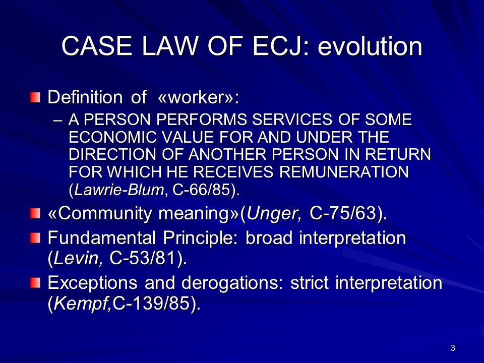 CASE LAW OF ECJ: evolution