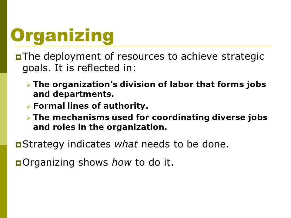Organizing The deployment of resources to achieve strategic goals. It is reflected in: