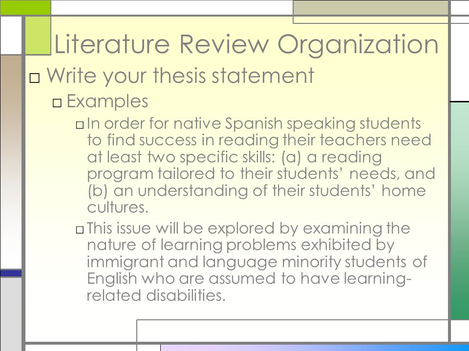 example of a thesis statement for a literature review