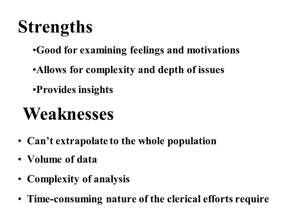 good strengths and weaknesses