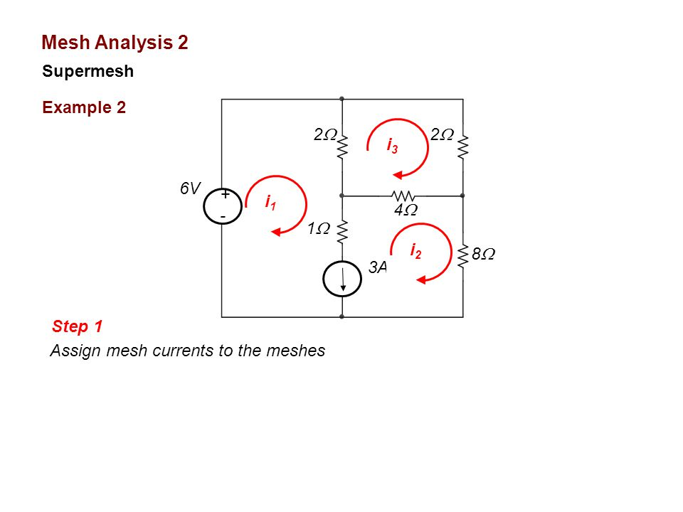 Mesh Analysis 2 Supermesh Example 2 2 i3 6V + i1 - 4 1 i2 8 3A