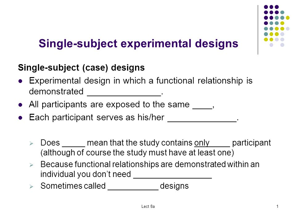 single-subject experiments differ from the case study method in that single-subject experiments One difference between the experimental and other the primary defect of the one-shot case study the principal method of data analysis in single-subject.