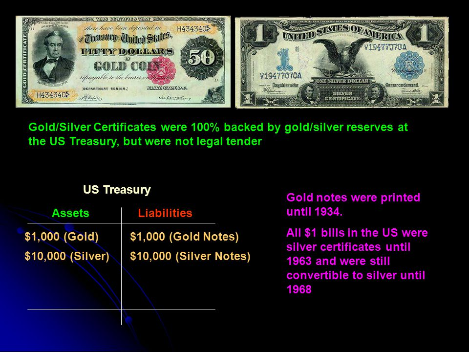 Gold/Silver Certificates were 100% backed by gold/silver reserves at the US Treasury, but were not legal tender