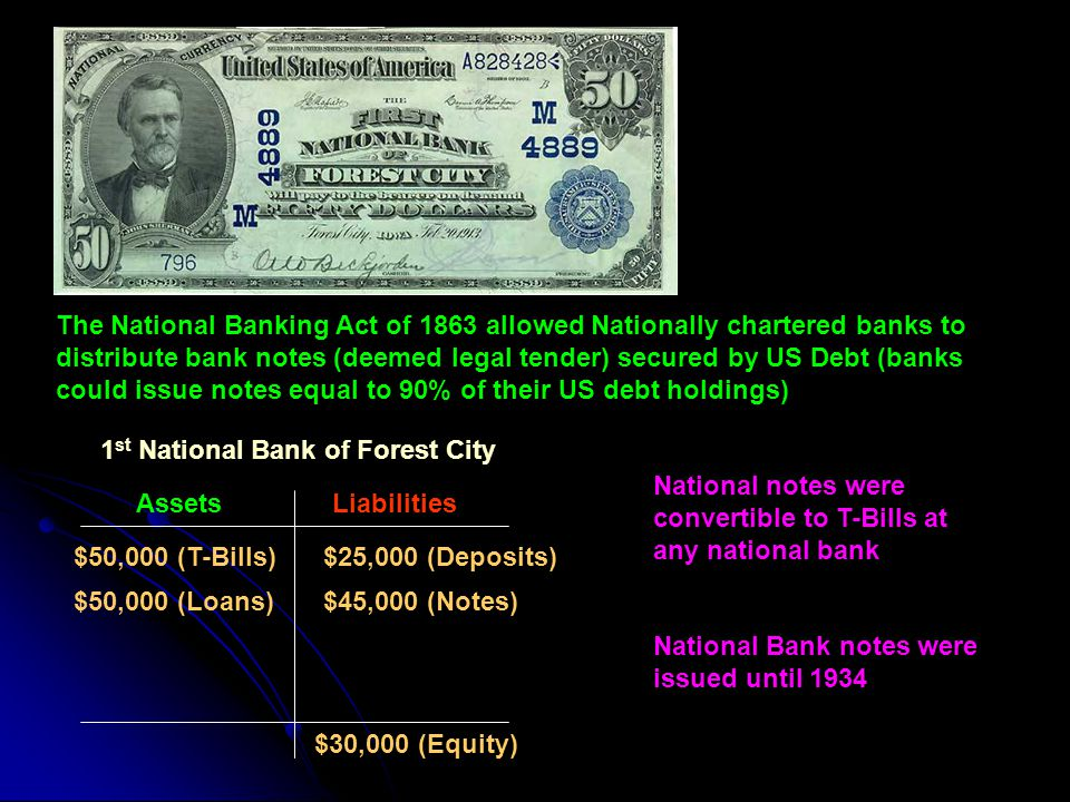 The National Banking Act of 1863 allowed Nationally chartered banks to distribute bank notes (deemed legal tender) secured by US Debt (banks could issue notes equal to 90% of their US debt holdings)