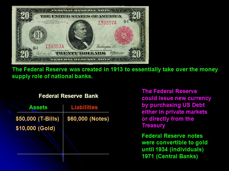 The Federal Reserve was created in 1913 to essentially take over the money supply role of national banks.