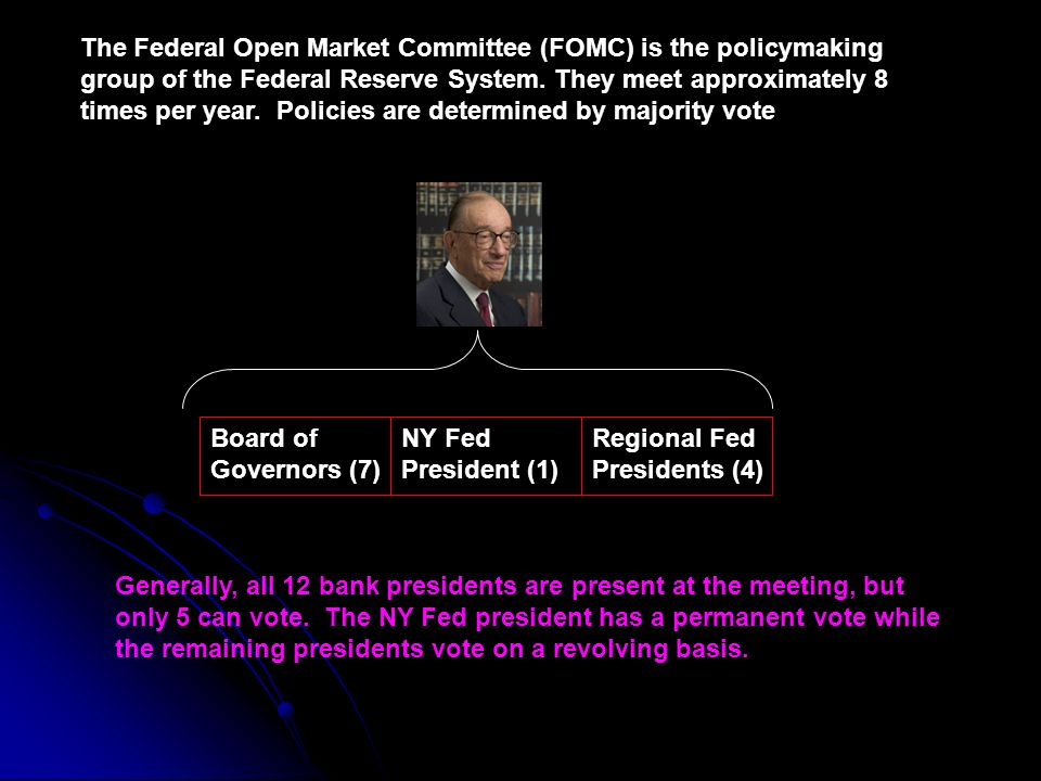 The Federal Open Market Committee (FOMC) is the policymaking group of the Federal Reserve System. They meet approximately 8 times per year. Policies are determined by majority vote