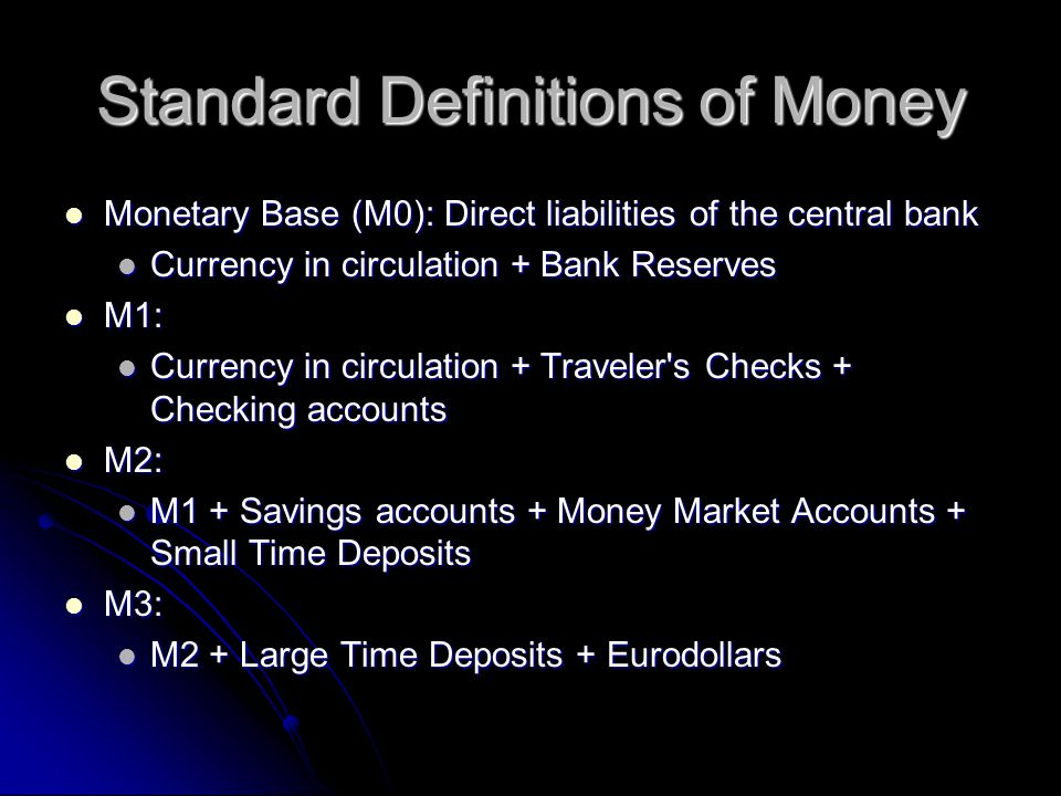 Standard Definitions of Money