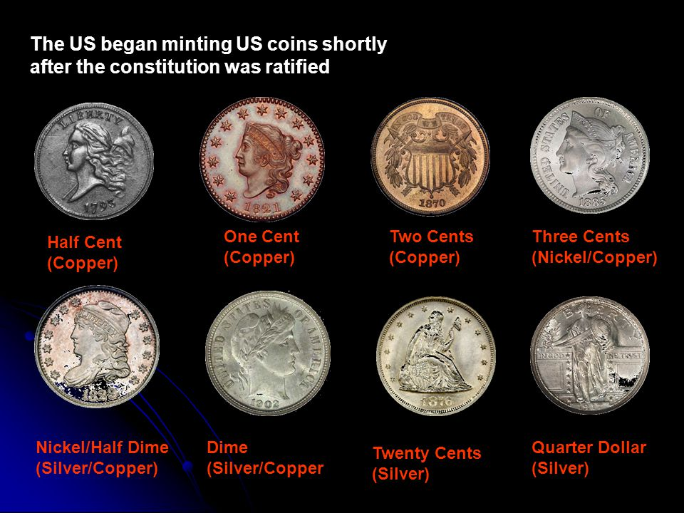 The US began minting US coins shortly after the constitution was ratified