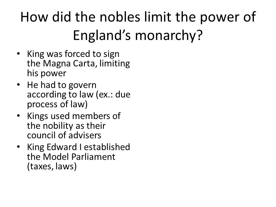 How did the nobles limit the power of England's monarchy