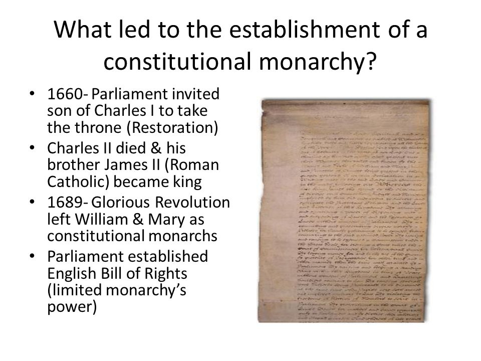 What led to the establishment of a constitutional monarchy