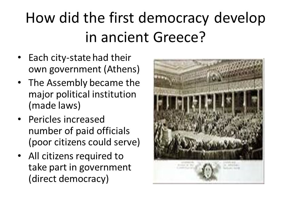 How did the first democracy develop in ancient Greece