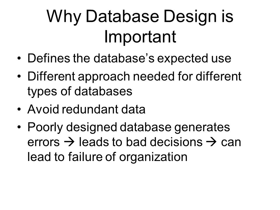 why good database design is important What is a healthcare database and the chances are good that it runs on an oltp database it's important to note that each oltp database is constrained to a.