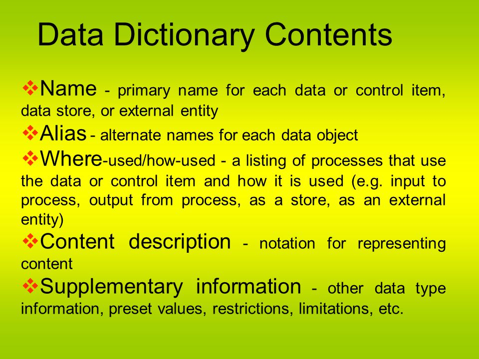 Data Dictionary Contents