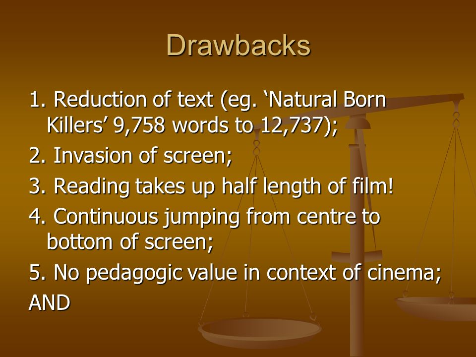 Drawbacks1. Reduction of text (eg. 'Natural Born Killers' 9,758 words to 12,737); 2. Invasion of screen;