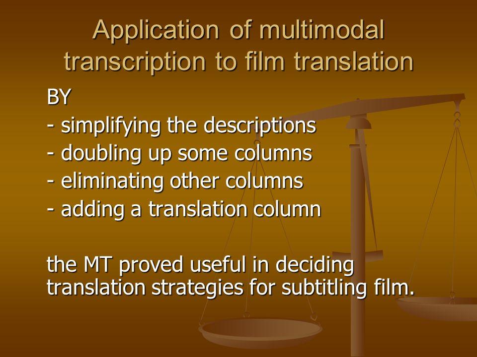 Application of multimodal transcription to film translation