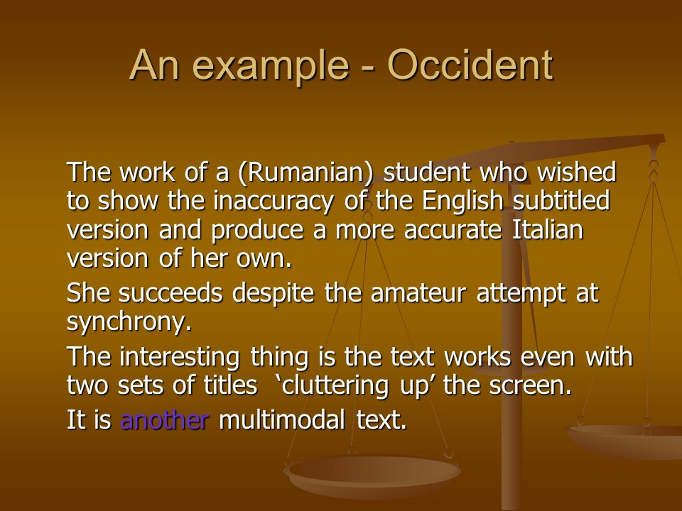 An example - Occident