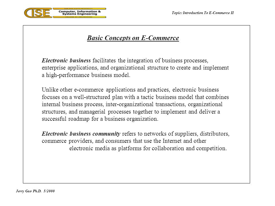 Introduction To E-Commerce II