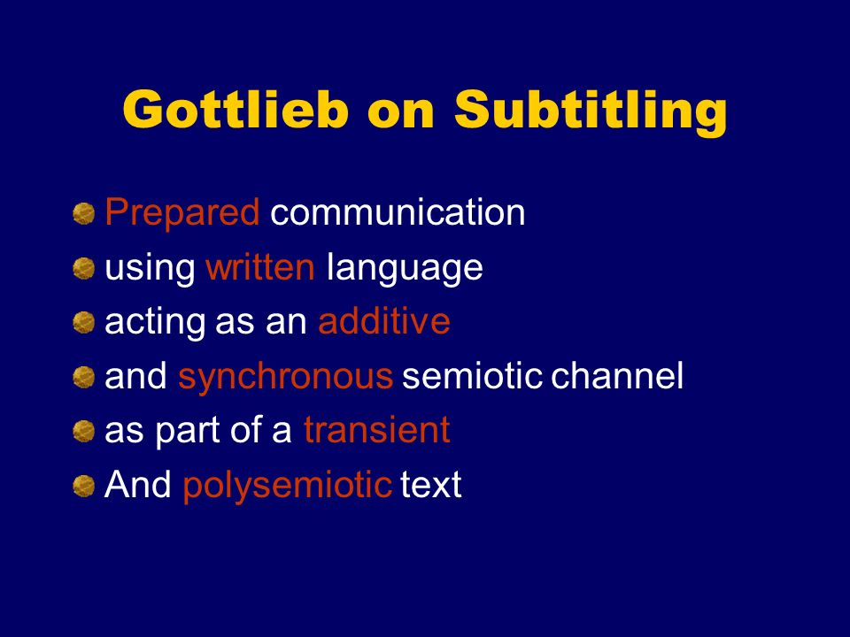 Gottlieb on Subtitling