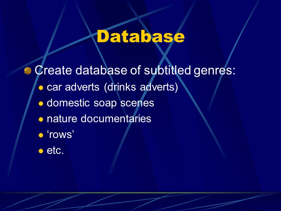 Database Create database of subtitled genres: