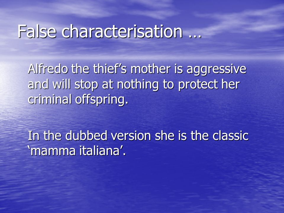 False characterisation …