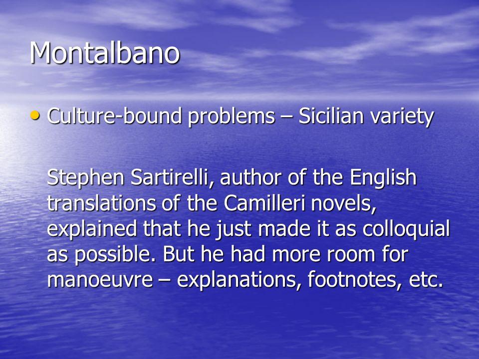 Montalbano Culture-bound problems – Sicilian variety