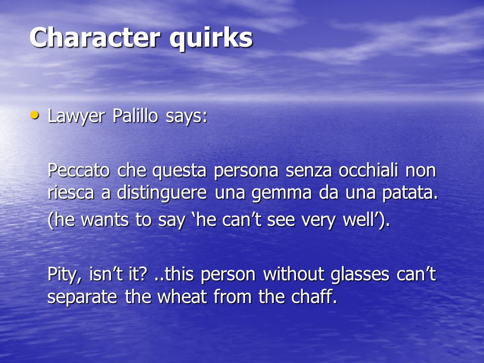 Character quirks Lawyer Palillo says: