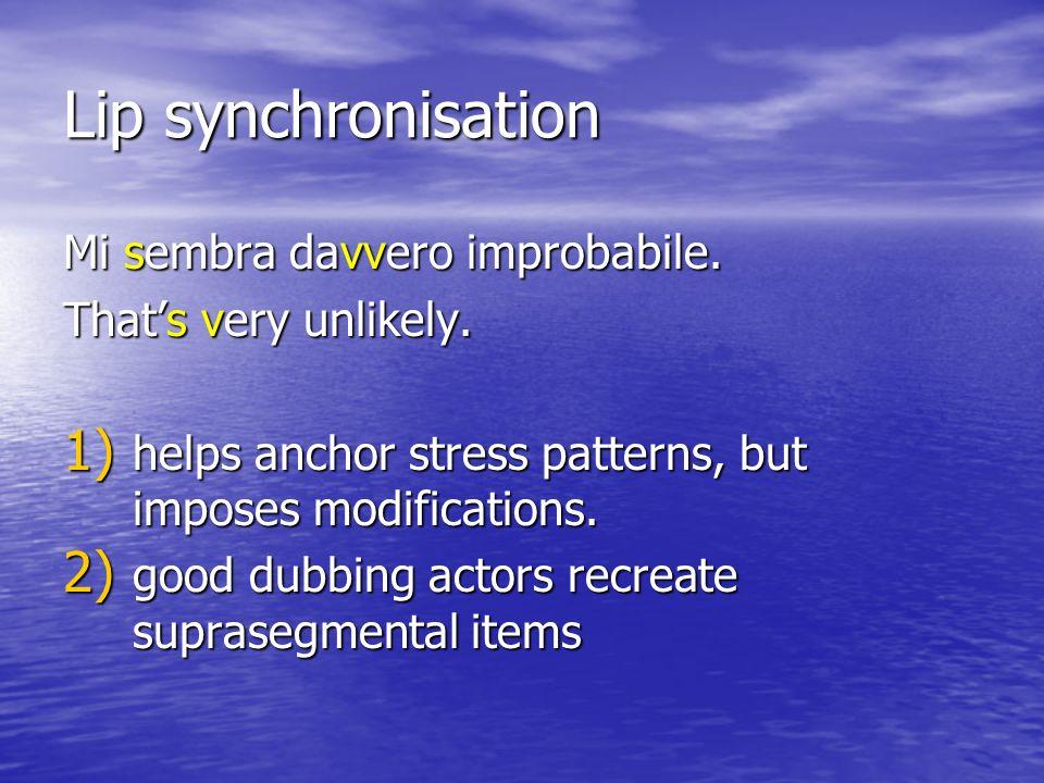 Lip synchronisation Mi sembra davvero improbabile.