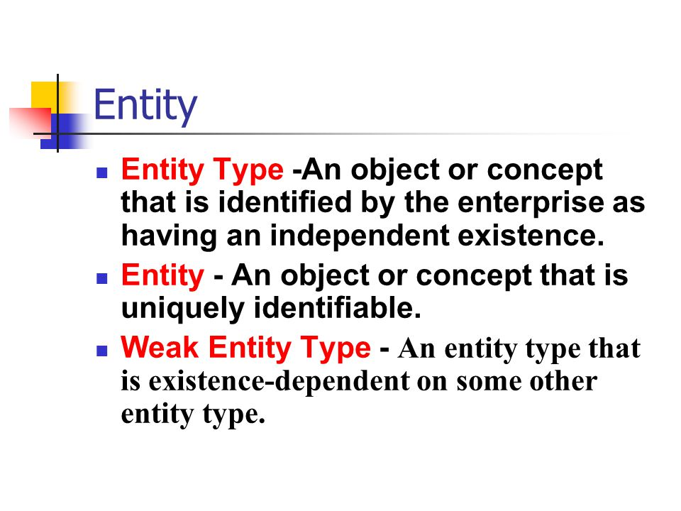 Entity Entity Type -An object or concept that is identified by the enterprise as having an independent existence.
