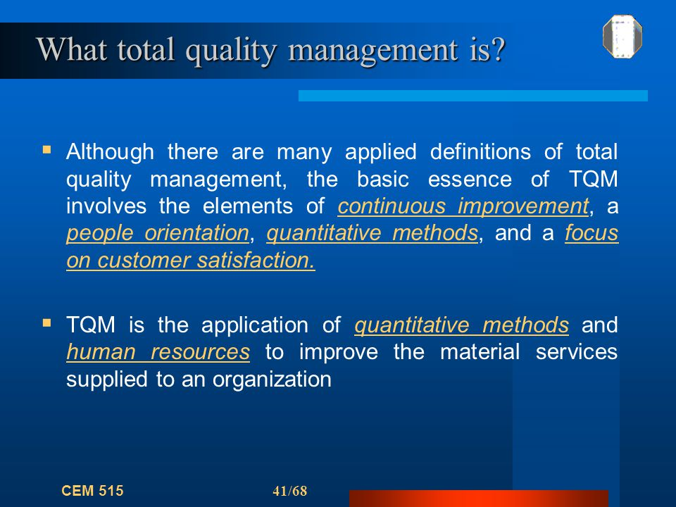 """the application of total quality management in the industry This was followed by the application of  """"a core value model for implementing total quality management in small organisations"""",  in the hospitali ty industry"""", total quality ."""