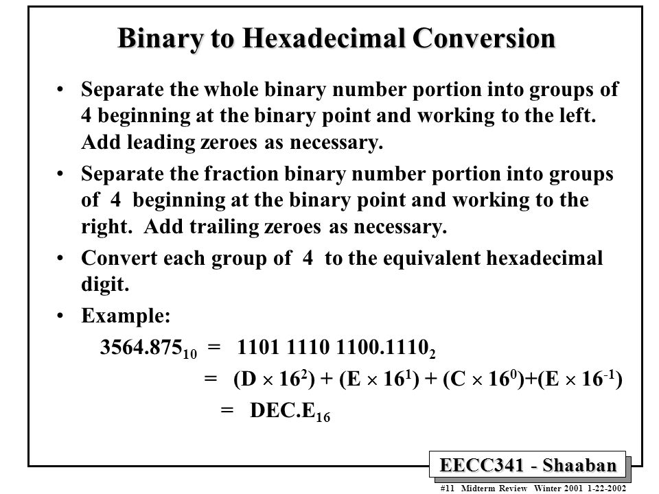 Binary converter radix point